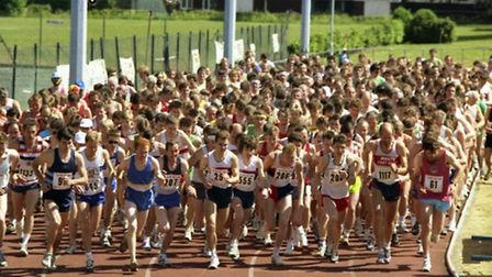 Runners set off on the track at Northgate in a Jaffa-organised race in May 1989.
