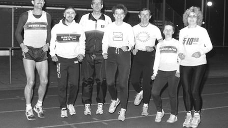 Ipswich JAFFA runners pictured on the Northgate track in July 1989