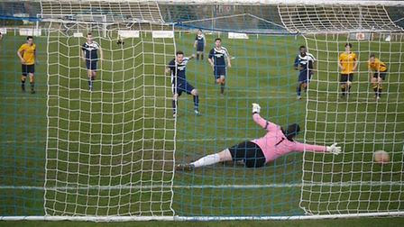 Ben Elliot scoring from the penalty spot for Hadleigh to make it 2-2 at home to Fakenham last weeken