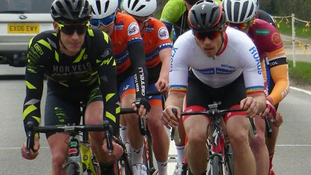 Colin Ward (Essex Roads, right) and Mike Mottram lead a group in the Jock Wadley Road Race