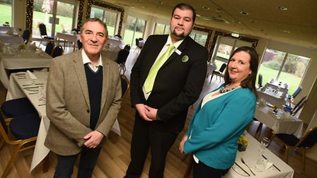 Ipswich Hotel general manager Rameth Kurdi, centre, with Roger Barcham of the Ipswich and Suffolk Sm