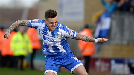 Sammie Szmodics celebrates his equaliser at Cambridge United, on his return to the Colchester team a