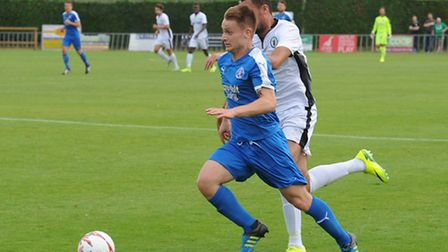 Byron Lawrence, in action for Leiston against Burgess Hill. Lawrence has joined Billericay.
