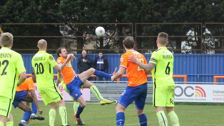 Jack Midson poses an attacking threat for Braintree against Southport on Saturday. He should again s