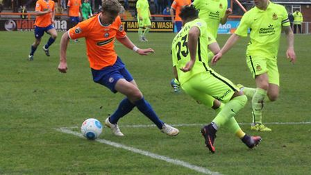 Braintree Town's Kris Twardek, causing problems for Southport's defence during Saturday's 2-0 home w