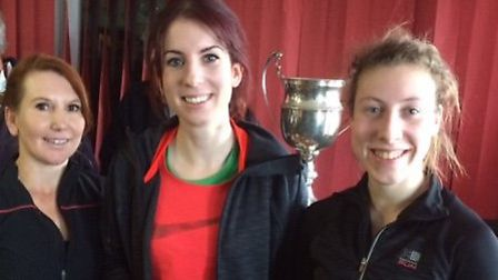 The Colchester Harriers trio of Amanda Henry, Stacey Eyres and Rebecca Cooke, who won team bronze me