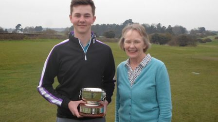 Sam Byford receives the Nick Reiss Memorial Trophy from Mrs Jane Reiss-Watson. Photograph: CONTRIBUT