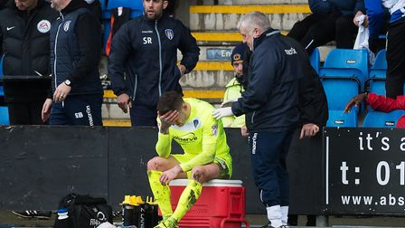 Sammie Szmodics is distraught after suffering a broken leg at Crewe in March. Picture: RICHARD BLAX