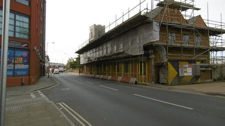 Historic building under renovation in College Street, Ipswich close to St Peter's By The Waterfront