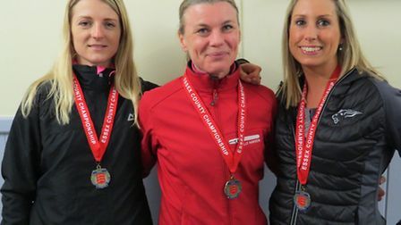 Colchester & Tendring veteran ladies' bronze medallists from the Essex Road Relays. From left: Ellie
