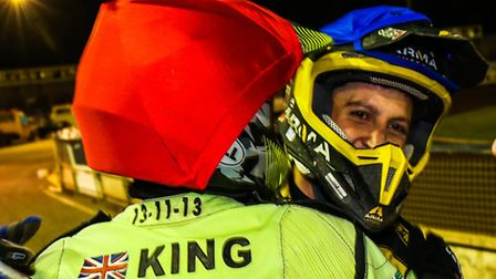 Nico Covatti and Danny King embrace after a last-heat 5-1 for Ipswich last season. Will the pair be