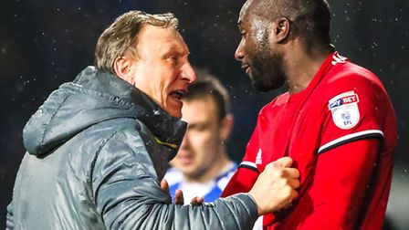 Sol Bamba pushes Cardiff City manager Neil Warnock in the 1-1 draw at Portman Road earlier this seas