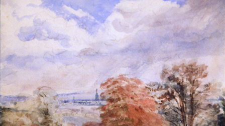 A View of Hampstead, a watercolour by John Constable on display at Gainsborough's House