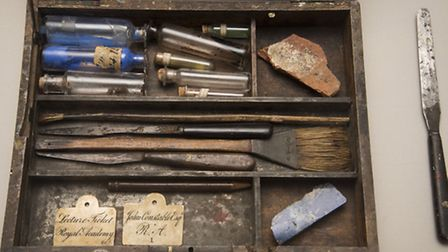 Constable's paintbox is on show as part of the exhibition at Gainsborough's House. Photo: MARK WEST