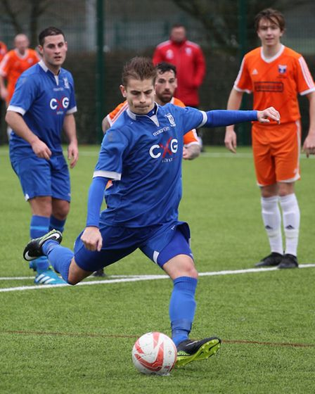 Craig Pruden added a third goal for Haverhill Borough against Holland FC. Picture: Gary Brown