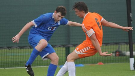 Charlie Homes scored the second goal for Haverhill Borough against Holland FC. Picture: Gary Brown