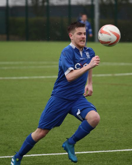 Ryan Swallow scored the first goal for Haverhill Borough against Holland FC. Picture: Gary Brown