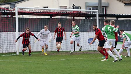 Goalmouth action in the Coggeshall v Framlingham match. Picture: Dean Warner