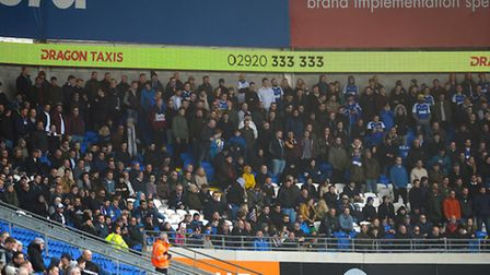 Town fans watch on at Cardiff
