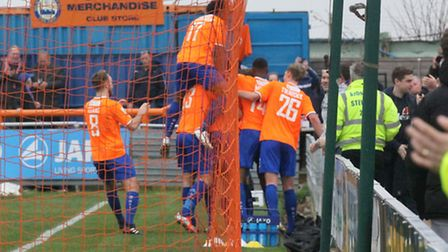 Braintree celebrate Sam Corne's goal during their win over Southport