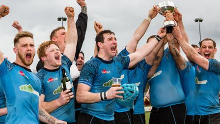 The Woodbridge Warriors celebrate winning the Chadacre Cup for a second straight year