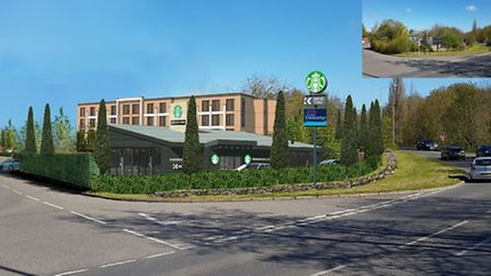 Computer-generated image of a new Travelodge and drive-thru Starbucks in Bury St Edmunds. Picture: N
