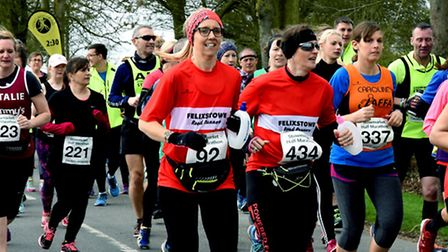The ladies pack well during the early stages of the Stowmarket Half-Marathon