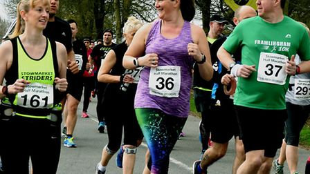 Runners share a joke during the early stages of last weekend's Stowmarket Half-Marathon, staged over