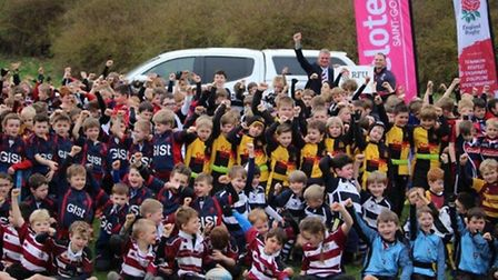 Group cheer! Just a few of the players (along with on the Marcus Gallagher HRFC Youth Chairman and