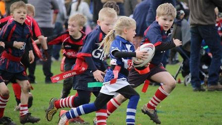 """""""Who says Rugby is for Boys?"""" Bishops Stortford (Blue and White) v Stowmarket U8s"""