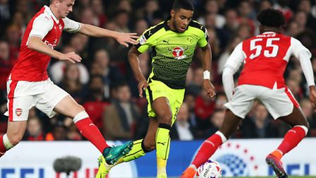 Dominic Samuel, pictured in action for Reading against Arsenal.