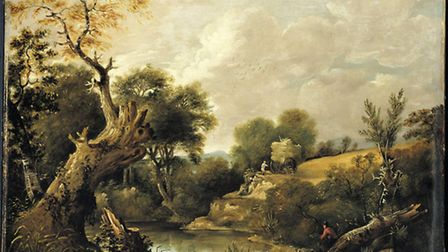 An early oil painting by John Constable. Painted in 1797, The Harvest Field.