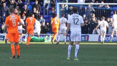 Ben McNamara saves a second-half penalty during Saturday's 1-0 defeat at Tranmere. Picture: ALAN STU