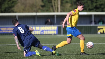 Sam Corcoran in action for Sudbury on Saturday. The Suffolk side lost 0-4 at home to Hendon