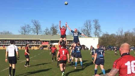 Line-out action from Colchester's clash at Guildford
