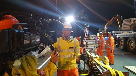 Jackson Civil Engineering project manager Ryan Smith in front of the camera during the making of the