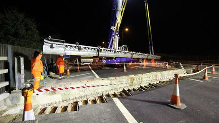 The 90-tonne crane used by Jackson Civil Engineering at part of work to replace an expansion joint o