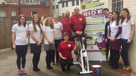 Ian Seeley (on the bike) and the team at Prettys who took part in Ride Fest 2017.
