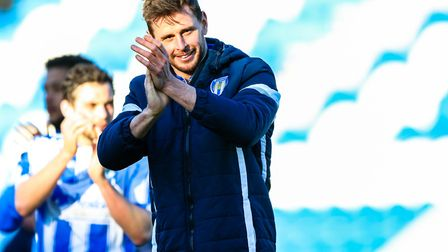 Colchester's Chris Porter applauds the fans after his brace against Luton Town. Picture: Steve Walle