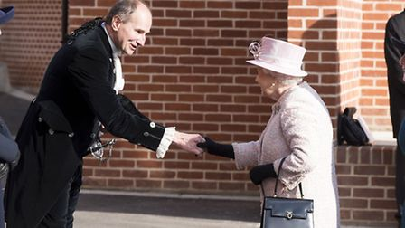 High Sheriff of Suffolk William Kendall with The Queen when she visited Newmarket for the opening o