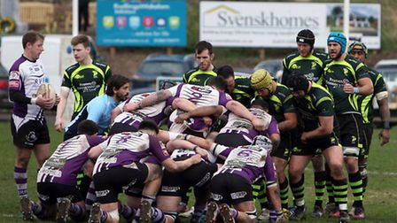 It's scrum down during Bury's home win over Exmouth last Saturday week. The Haberden club followed t