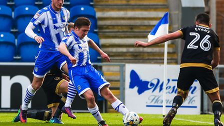 Tom Lapslie on the ball during the U's 4-0 home defeat to Portsmouth on Saturday> Picture: STEVE WAL
