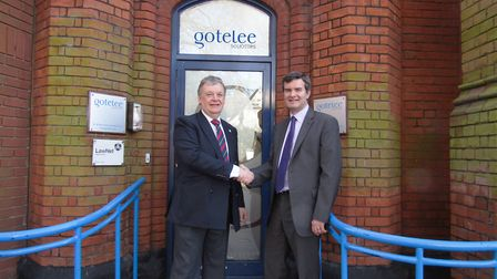 Charles Rowett, who is to become chief executive at Gotelee Solicitors, with Peter Crix, who is to t