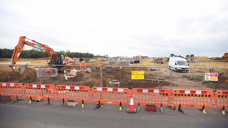 Construction site is not a playground safety warning. Mildenhall Road, Bury St Edmunds.