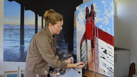 Southwold artist Karen Keable at work on her latest exhibition 'I Dream of the Sea' collects togethe