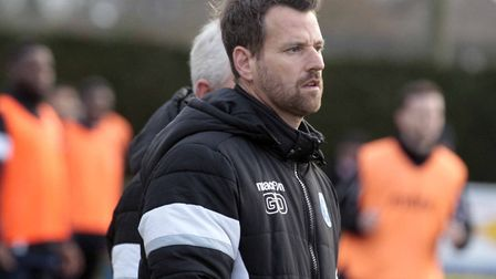 Leiston boss Glenn Driver, who was very unhappy with his side's poor performance in a 2-1 defeat at
