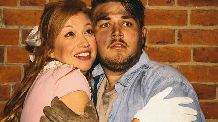 Hope (Zoe Ransome) and Bobby (Wade Ablitt) in the Gallery Players production of Urinetown, the Tony