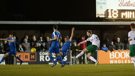James Wild fires Bognor Regis into the lead on 18 minutes against Leiston. Picture: PAGEPIX