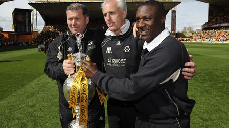 Dave Bowman, Mick McCarthy and Terry Connor pictured with the Championship trophy in 2009 at former