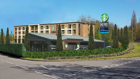 An impression of the planned Travelodge and drive-thru Starbucks off Etna Road in Bury St Edmunds.